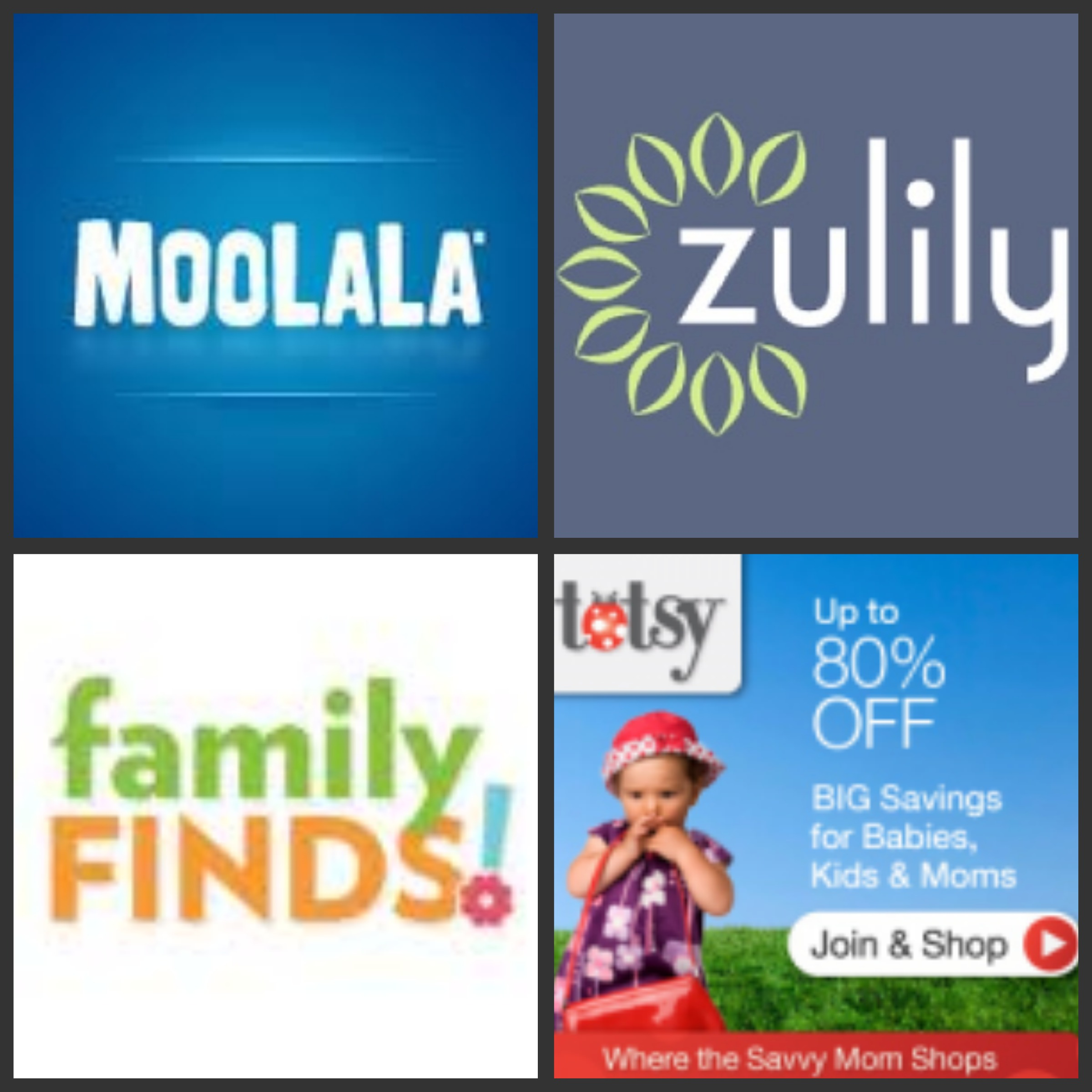 """""""Daily Deals"""" """"Family Bargains"""" """"Deal Sites"""" """"Daily Deal Site"""" """"Groupon"""" """"Moolala"""" """"Zulily"""" """"Totsy"""" """"Family Finds"""""""