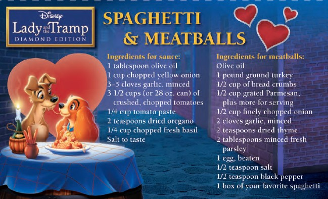 """""""Disney Recipes"""" """"Spaghetti and Meatballs"""" """"Family Italian"""""""