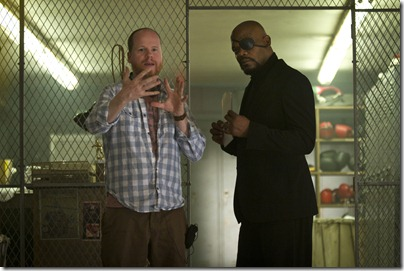 """""""Marvel's The Avengers""""</p> <p>Director Joss Whedon on set with Samuel L. Jackson as NICK FURY</p> <p>Ph: Zade Rosenthal </p> <p>© 2011 MVLFFLLC. TM & © 2011 Marvel. All Rights Reserved."""