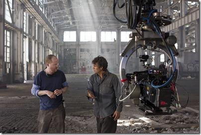"""Marvel's The Avengers"" </p> <p>Director Joss Whedon on set with Mark Ruffalo as BRUCE BANNER/HULK</p> <p>Ph: Zade Rosenthal </p> <p>© 2011 MVLFFLLC. TM & © 2011 Marvel. All Rights Reserved."
