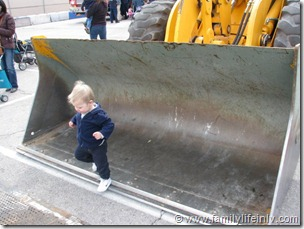 Going for a ride in a bulldozer