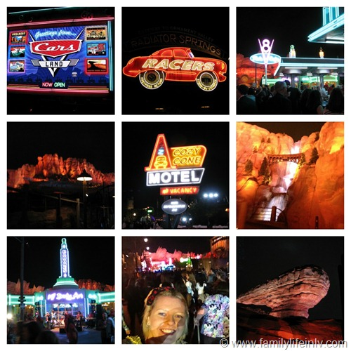 """Cars Land at Night"" ""Cars Land"" ""Disney California Adventure"" ""Neon"""
