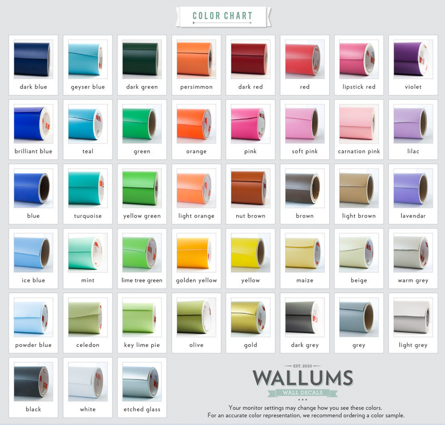 """Wallums Color Chart"" ""Vinyl Wall Decals"" ""Wall Decals"" ""Nursery Decor"""