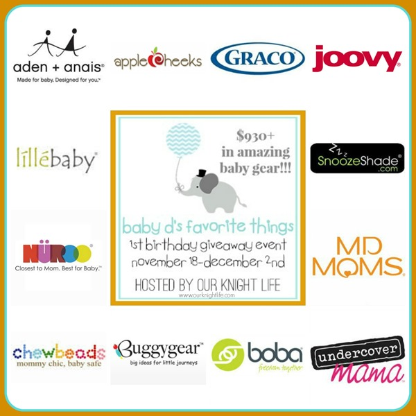 """""""Joovy Giveaway"""" """"aden+anais giveaway"""" """"graco car seat"""" """"applecheeks diapers"""" """"MD Moms"""" """"Nuroo Scarf"""" """"boba baby carrier"""" """"lillebaby comvplete baby carrier"""" """"Baby Gear Giveaway"""" """"Babys first birthday celebration"""""""