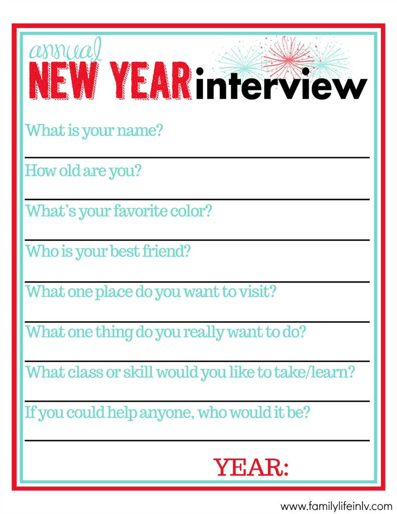 """New Years Resolutions for Kids"" ""Kids New Years Resolutions"" ""End Of Year Interview"" ""End of Year Interview for Kids"" ""New Years Interview Free Printable"" 'End of Year Interview Free Printable"""