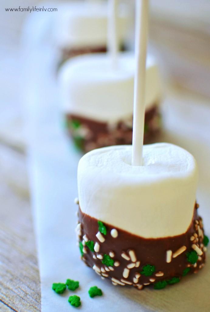 St. Patrick's Day Treat Idea - Chocolate Dipped Marshmallows