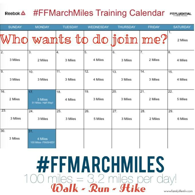 """FitFluential"" ""Reebok"" ""FFMarchMiles"" ""100 Miles in March"""
