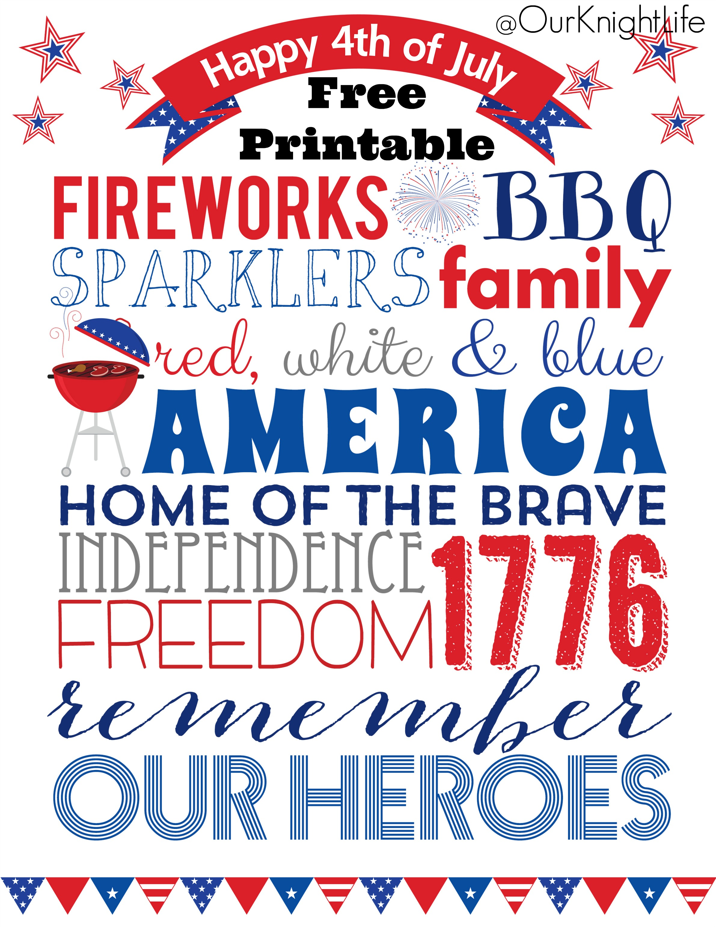 """4th of July Subway art"" ""4th of July free printable"" ""4th of July decorations"" ""fourth of july"""