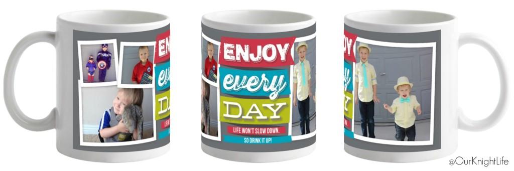 """""""Tiny Prints"""" """"Free Mug"""" """"Personalized Mug"""" """"Enjoy Every Day"""""""