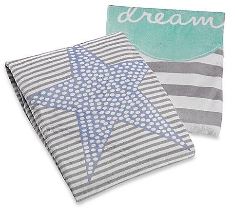 Just Born Striped Plush Blanket