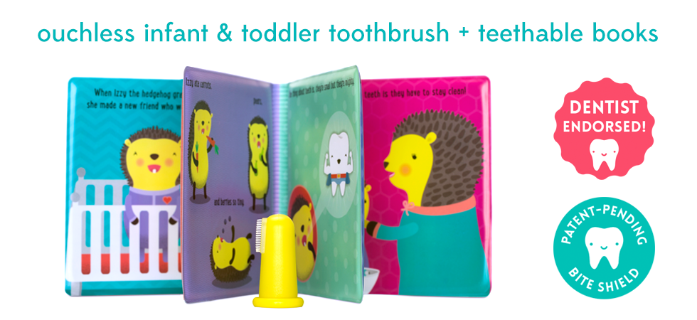 Ouchless Toddler Toothbrush and soft Teething Book from Soft Chomp