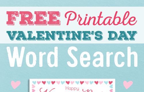 Valentine's Day Word Search Puzzle for Kids! Free Printable!