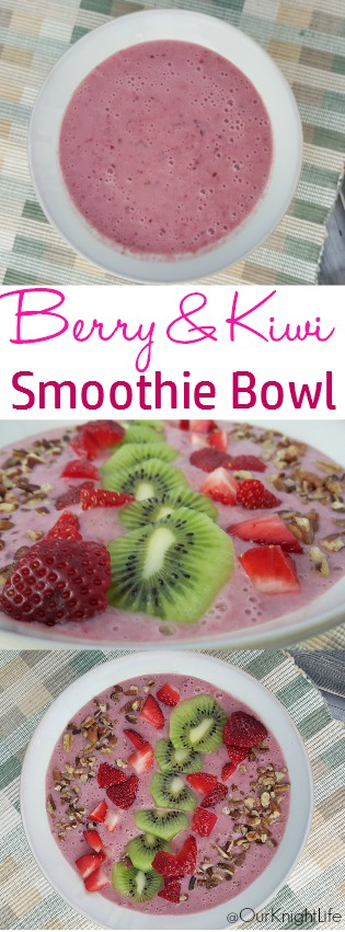 Smoothie Bowl recipe with Berries and Kiwi! -Our Knight Life smoothie bowl, strawberry, blueberry, kiwi, walnuts, healthy, diet, breakfast, kid friendly, snack, fruit smoothie, yogurt