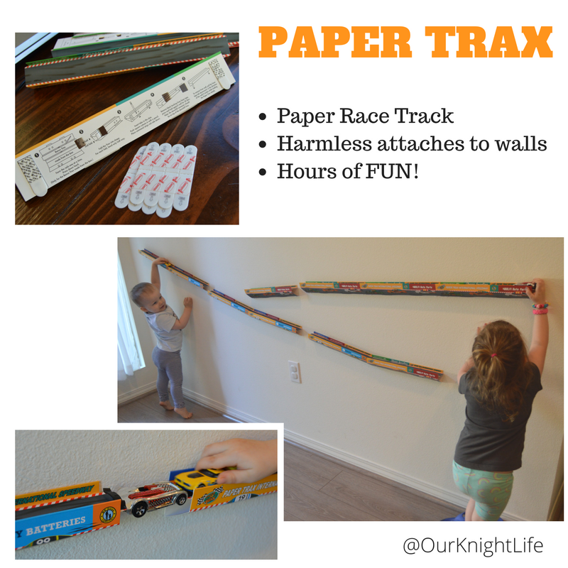 Paper Trax Review matchbox cars race track wall 3M Command Strips